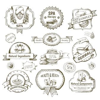 Conjunto de etiquetas de salón de spa