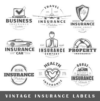 Conjunto de etiquetas de seguros vintage