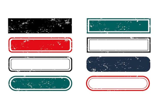 Conjunto de etiquetas de sellos rectangulares vacíos en blanco de ocho