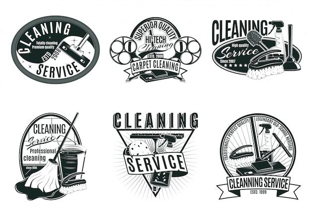 Conjunto de etiquetas de servicio de limpieza profesional vintage