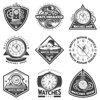 Conjunto de etiquetas de servicio de reparación de relojes vintage