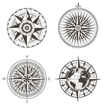 Conjunto de etiquetas de signos de brújula náutica vintage rosa de los vientos antiguos