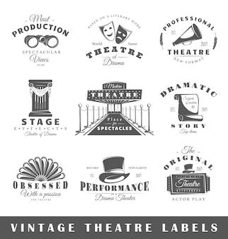 Conjunto de etiquetas de teatro vintage