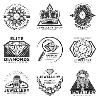 Conjunto de etiquetas de tienda de joyería monocromo vintage