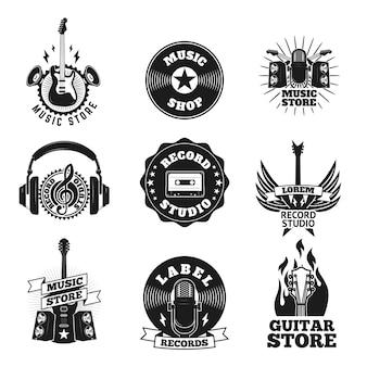 Conjunto de las etiquetas de la tienda de música.