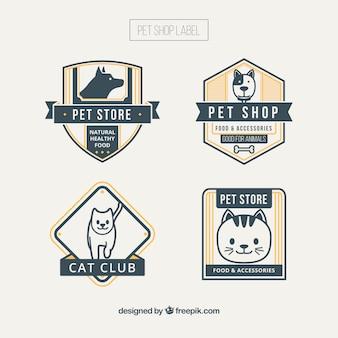 Conjunto de etiquetas de tiendas de mascotas