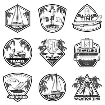 Conjunto de etiquetas de vacaciones de verano vintage