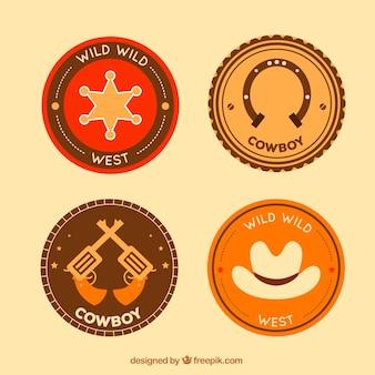 Conjunto de etiquetas de vaquero circulares