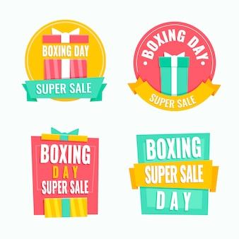 Conjunto de etiquetas de venta de boxing day dibujadas