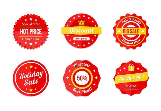 Conjunto de etiquetas de venta de descuento rojo