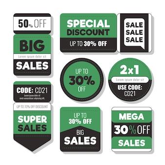 Conjunto de etiquetas de venta de diseño plano