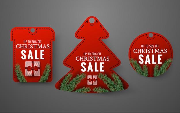Conjunto de etiquetas de venta de feliz navidad