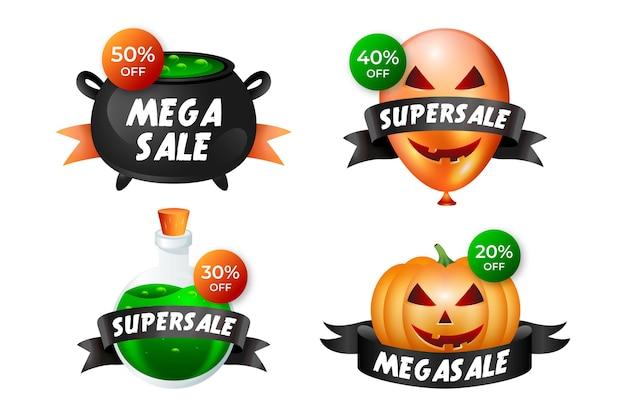 Conjunto de etiquetas de venta de halloween