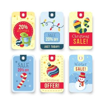 Conjunto de etiquetas de venta de navidad dibujadas a mano