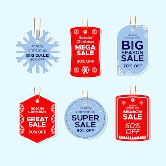 Conjunto de etiquetas de venta de navidad de diseño plano