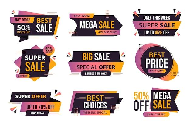 Conjunto de etiquetas de venta con oferta.