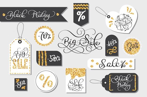 Conjunto de etiquetas de venta de viernes negro publicidad