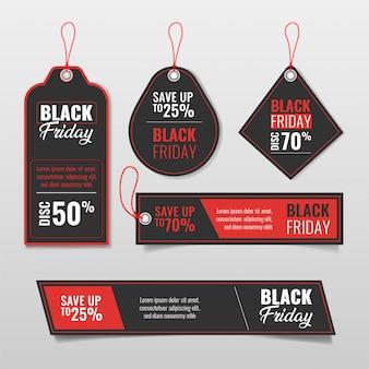 Conjunto de etiquetas de venta de viernes negro