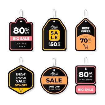 Conjunto de etiquetas de venta