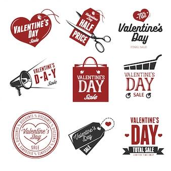 Conjunto de etiquetas de ventas del día de san valentín.