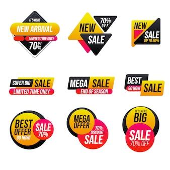 Conjunto de etiquetas de ventas minimalistas