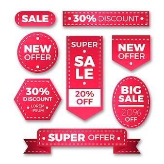 Conjunto de etiquetas de ventas realistas vector gratuito