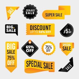 Conjunto de etiquetas de ventas realistas