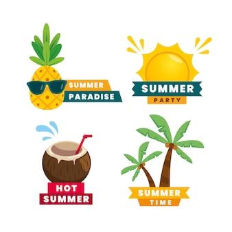 Conjunto de etiquetas de verano de diseño plano