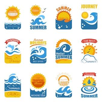 Conjunto de etiquetas de verano con ola y sol