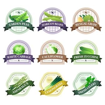 Conjunto de etiquetas de verduras de cultivo ecológico.