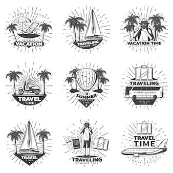 Conjunto de etiquetas de viaje monocromo vintage