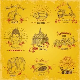 Conjunto de etiquetas de viaje de tailandia