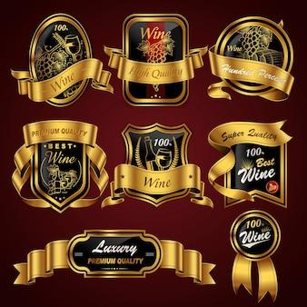 Conjunto de etiquetas de vino premium de lujo con cintas doradas