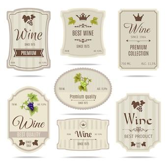 Conjunto de etiquetas de vino