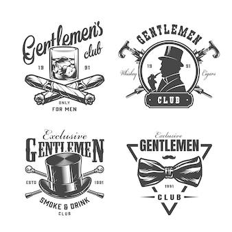 Conjunto de etiquetas vintage caballero monocromo