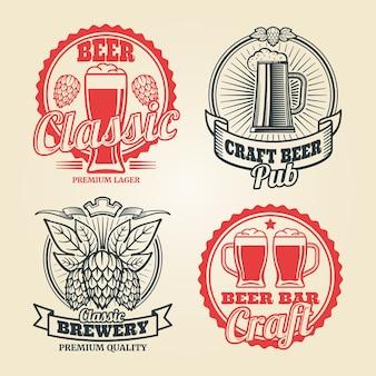 Conjunto de etiquetas vintage cerveza y pub