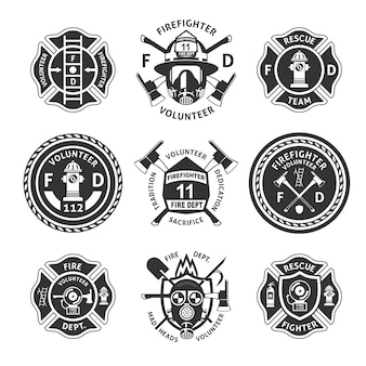 Conjunto de etiquetas vintage monocromo contra incendios