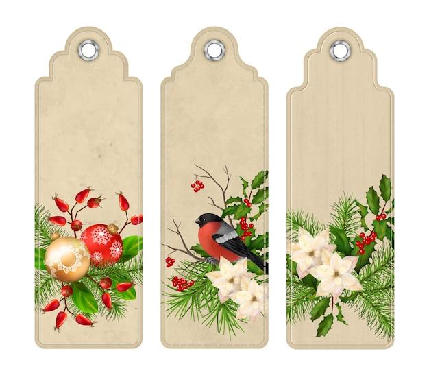 Conjunto de etiquetas vintage navideñas o marcadores con composiciones navideñas