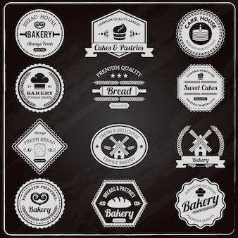 Conjunto de etiquetas vintage panadería pizarra