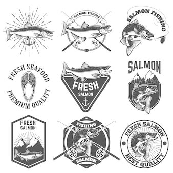 Conjunto de etiquetas vintage con salmón pescado