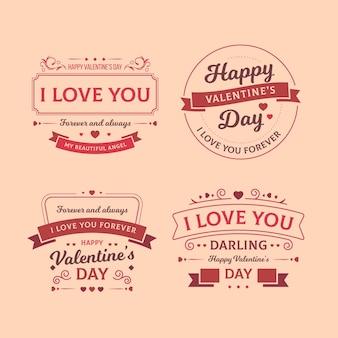 Conjunto de etiquetas vintage de san valentín