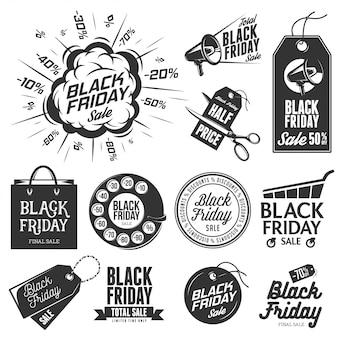 Conjunto de etiquetas vintage de venta de viernes negro.