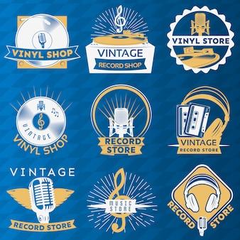 Conjunto de etiquetas vintage de vinilo