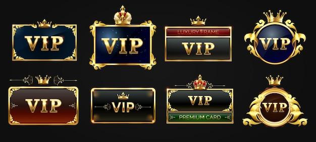 Conjunto de etiquetas vip, etiqueta negra con borde dorado brillante y cuadrado con corona en la parte superior