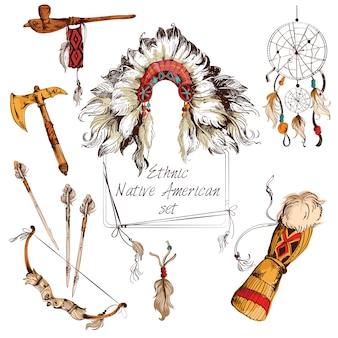 Conjunto étnico americano nativo coloreado.