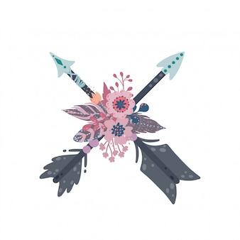 Conjunto étnico de flechas boho. flechas, plumas y decoración floral en estilo bohemio vintage.