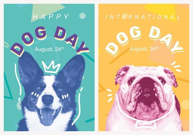 Conjunto de eventos editables para mascotas de plantilla de póster del día del perro