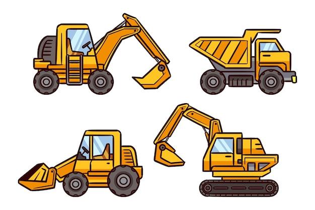 Conjunto de excavadora de diseño plano