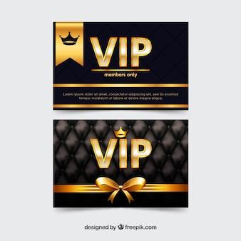 Conjunto exclusivo de tarjetas vip doradas