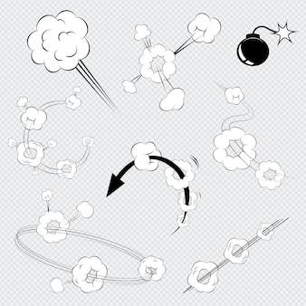 Conjunto de explosiones de cómics de dibujos animados de vector blanco y negro con bocanadas de humo